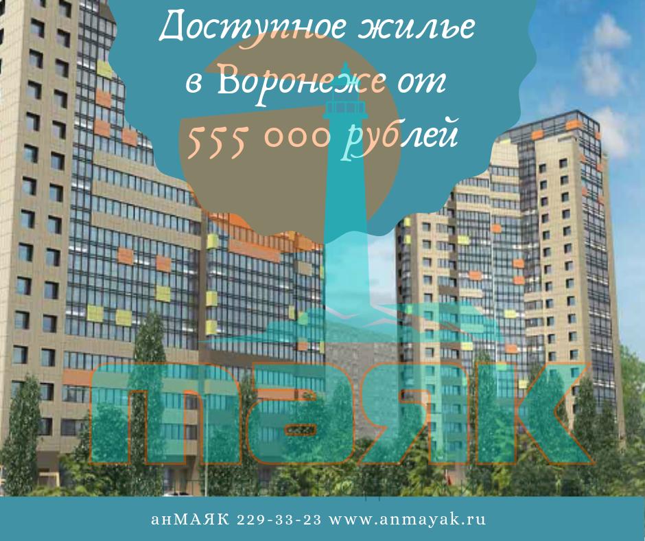 Квартиры в Воронеже от 555 000 рублей.